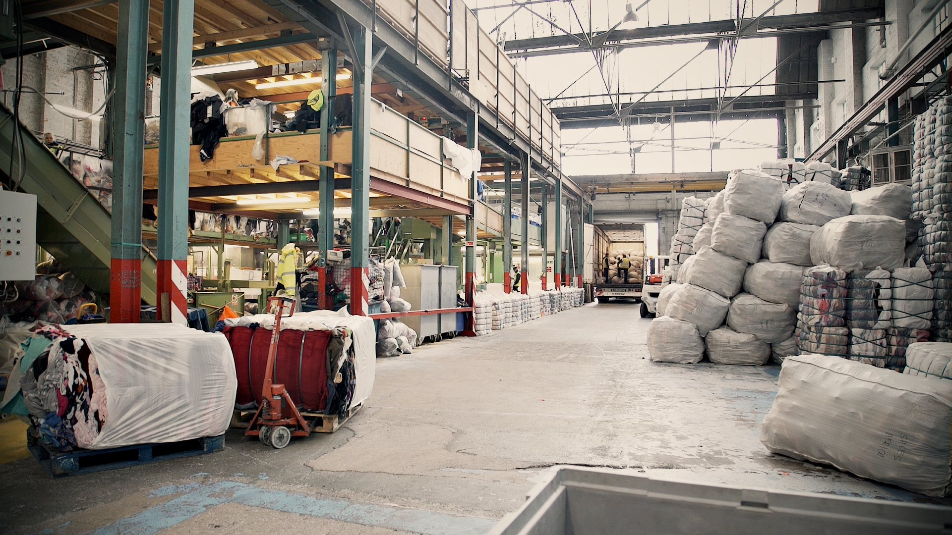 Inside of Bristol textile Recycling