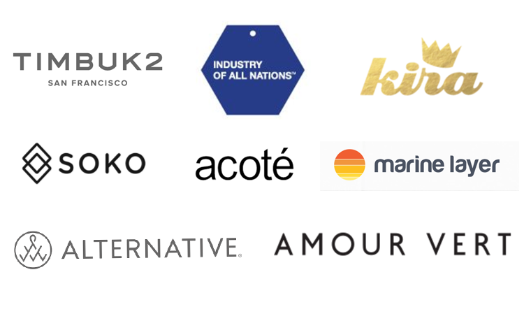 timbuk2, industry of all nations, kira, soko, acote, marine layer, alternative apparel, amour vert