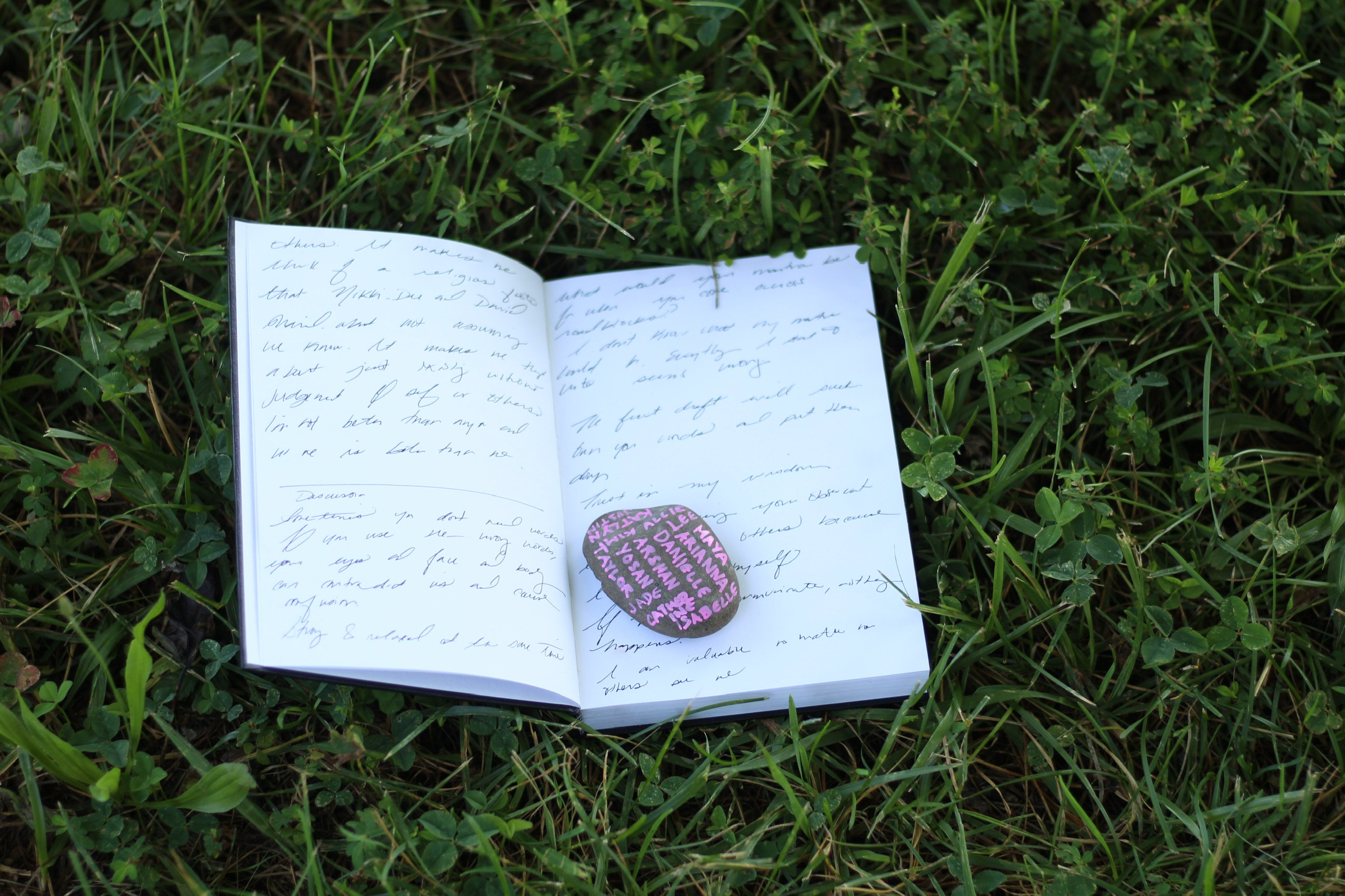 writing journal in grass