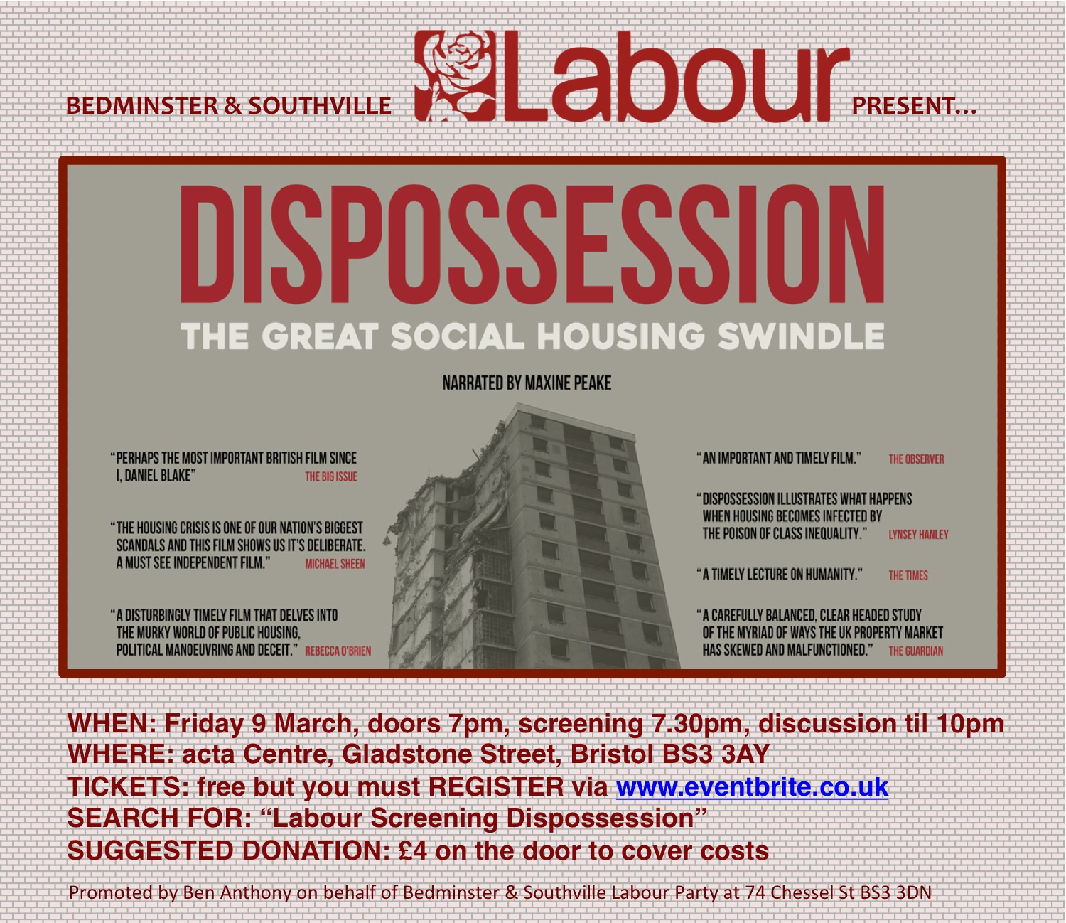 Flyer for Labour screening of Dispossession