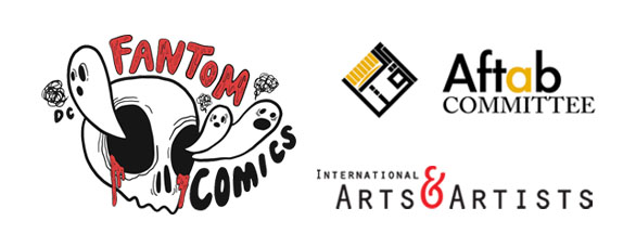 Fantom Comics, Aftab Committee, and International Arts & Artists logos