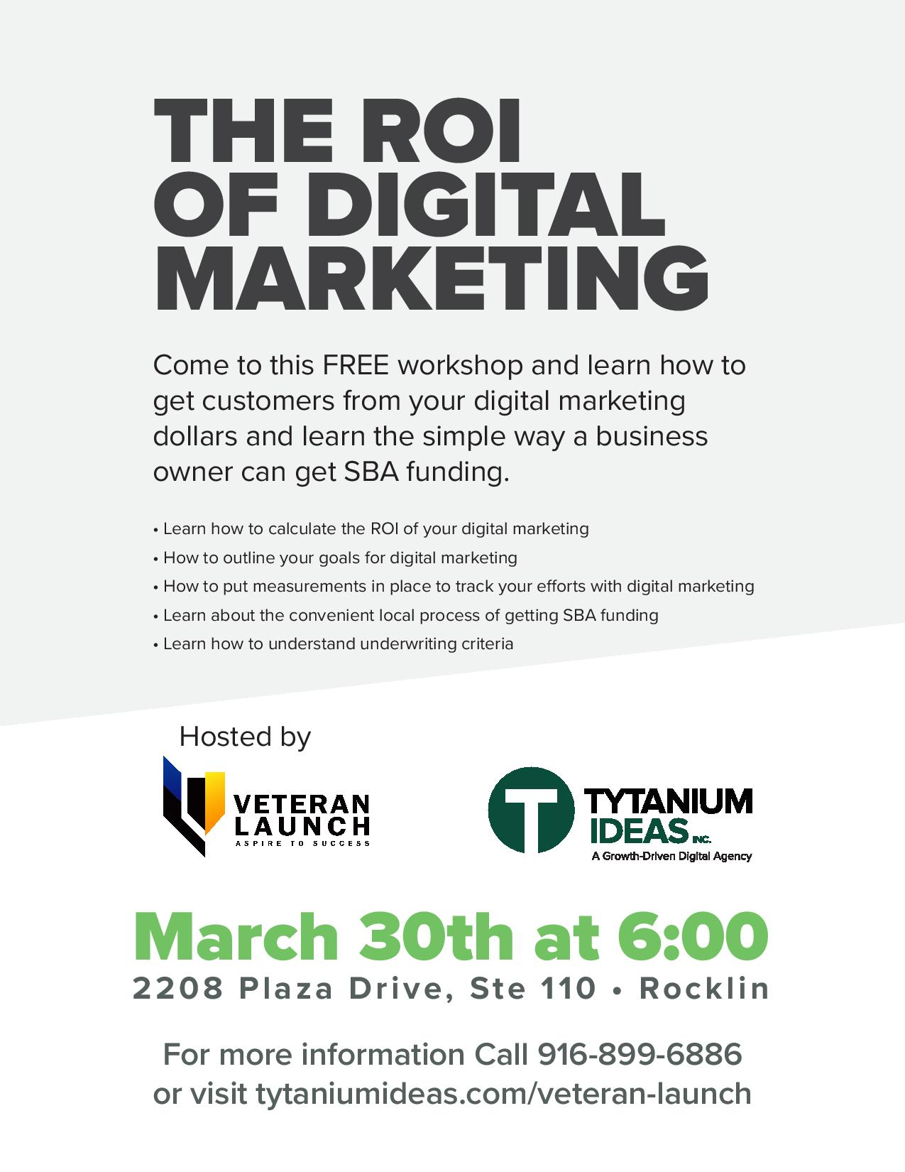 Veteran Launch Free Digital Marketing Networking Event Flyer