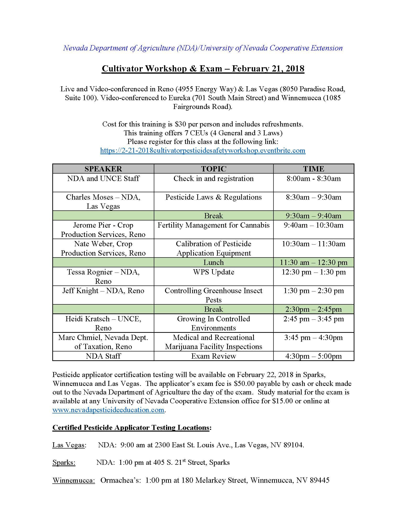 February 21 2018 cultivator workshop pesticide safety education agenda for 2 21 18 psep program 1betcityfo Gallery
