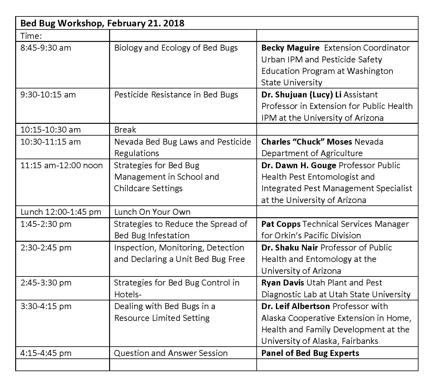Bed Bug Workshop Agenda