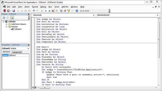 SolidWorks Macros