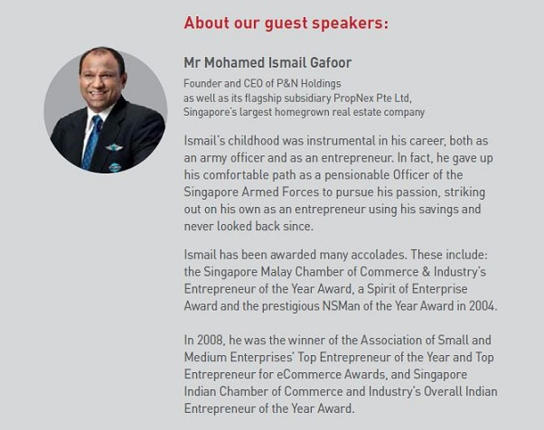 Mr Ismail Gafoor CEO of PropNex Realty