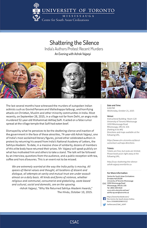 Poster - Shattering the Silence - Ashok Vajpeyi
