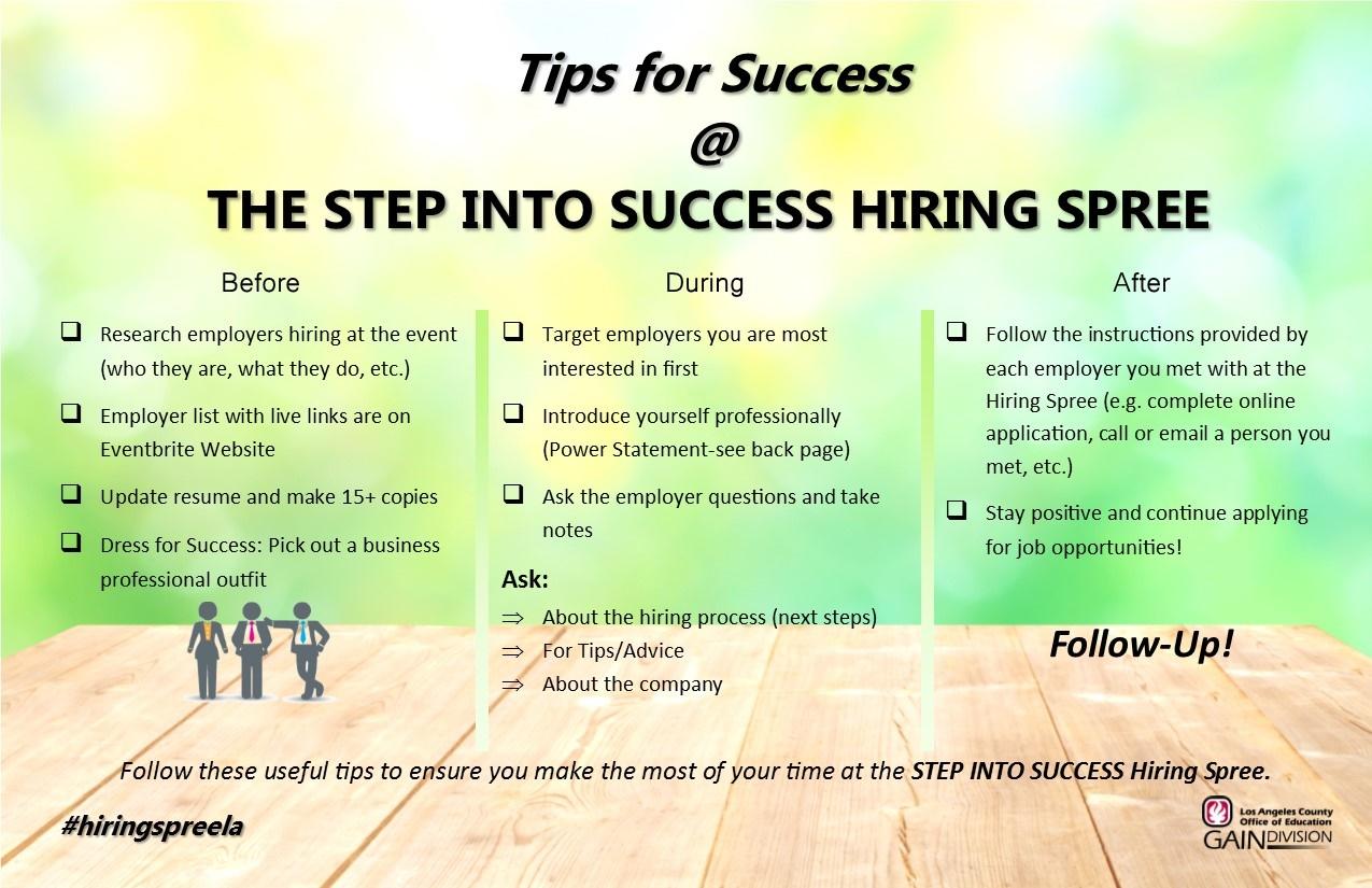 2018 Step Into Success Flyer Tips For Job Fair Success