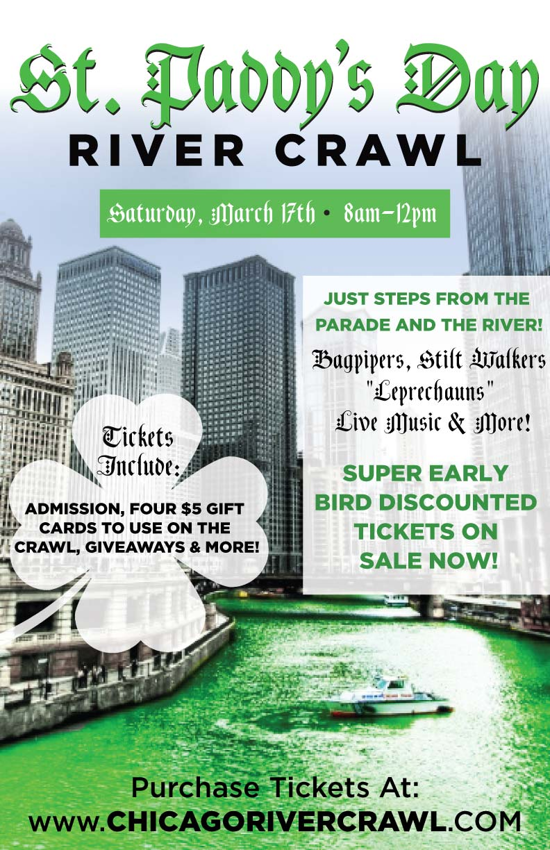 St. Patrick's Day Bar Crawl Chicago - TICKETS INCLUDE: Complimentary Entry and $20 in Gift cards to use on the crawl! The river will be dyed at 10am and the parade begins at noon!