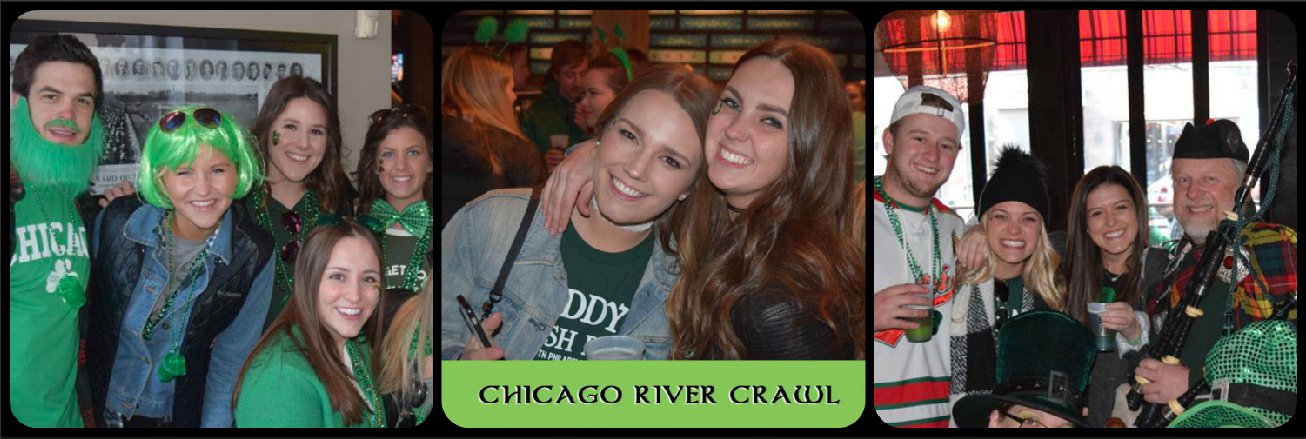 St. Patrick's Day Chicago River Crawl Picture Collage