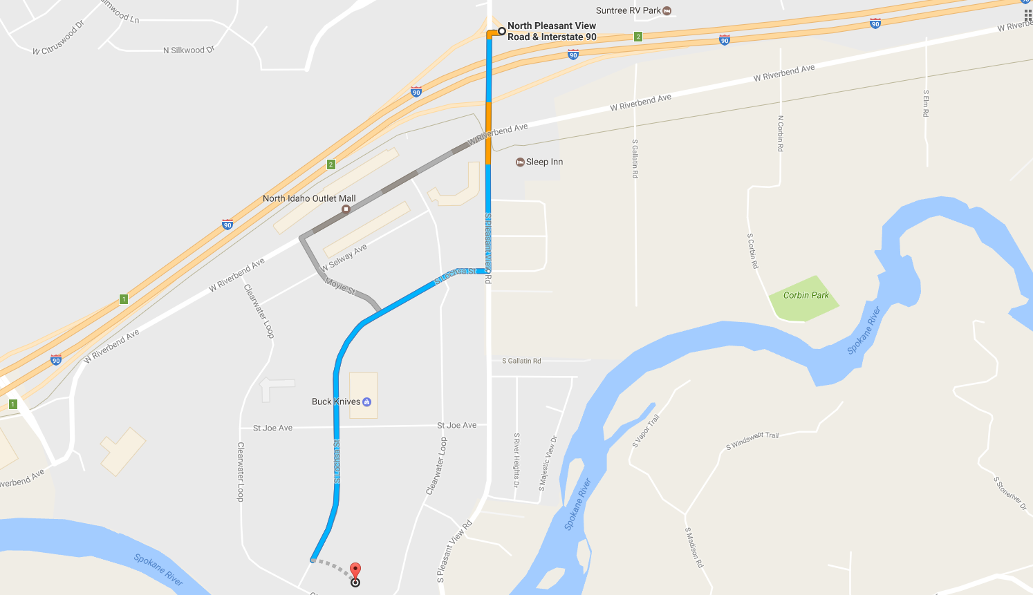 Map from I-90 West Pleasantview Road Exit