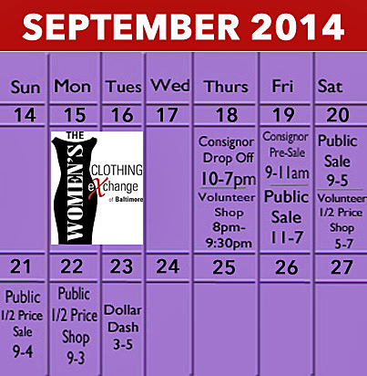 Fall 2014 Calendar - Sale Dates
