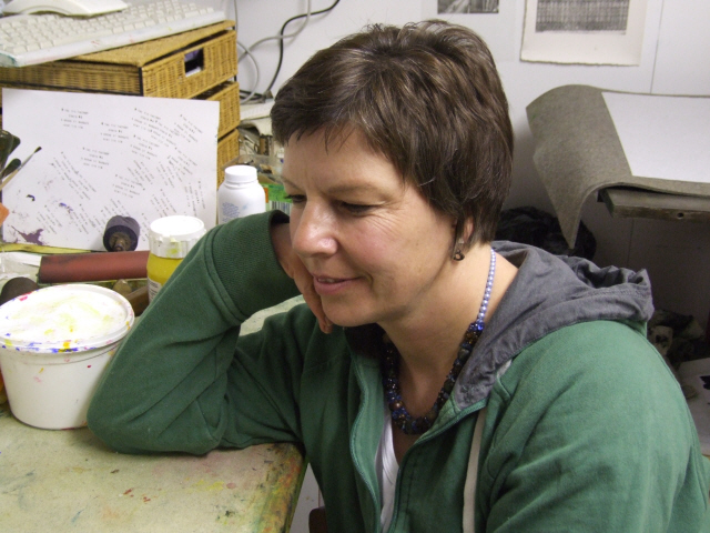 Artist Dawn Cole in her studio