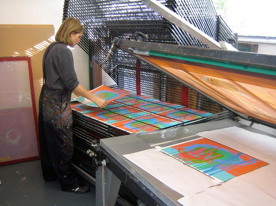 Charlotte Cornish at her printing press