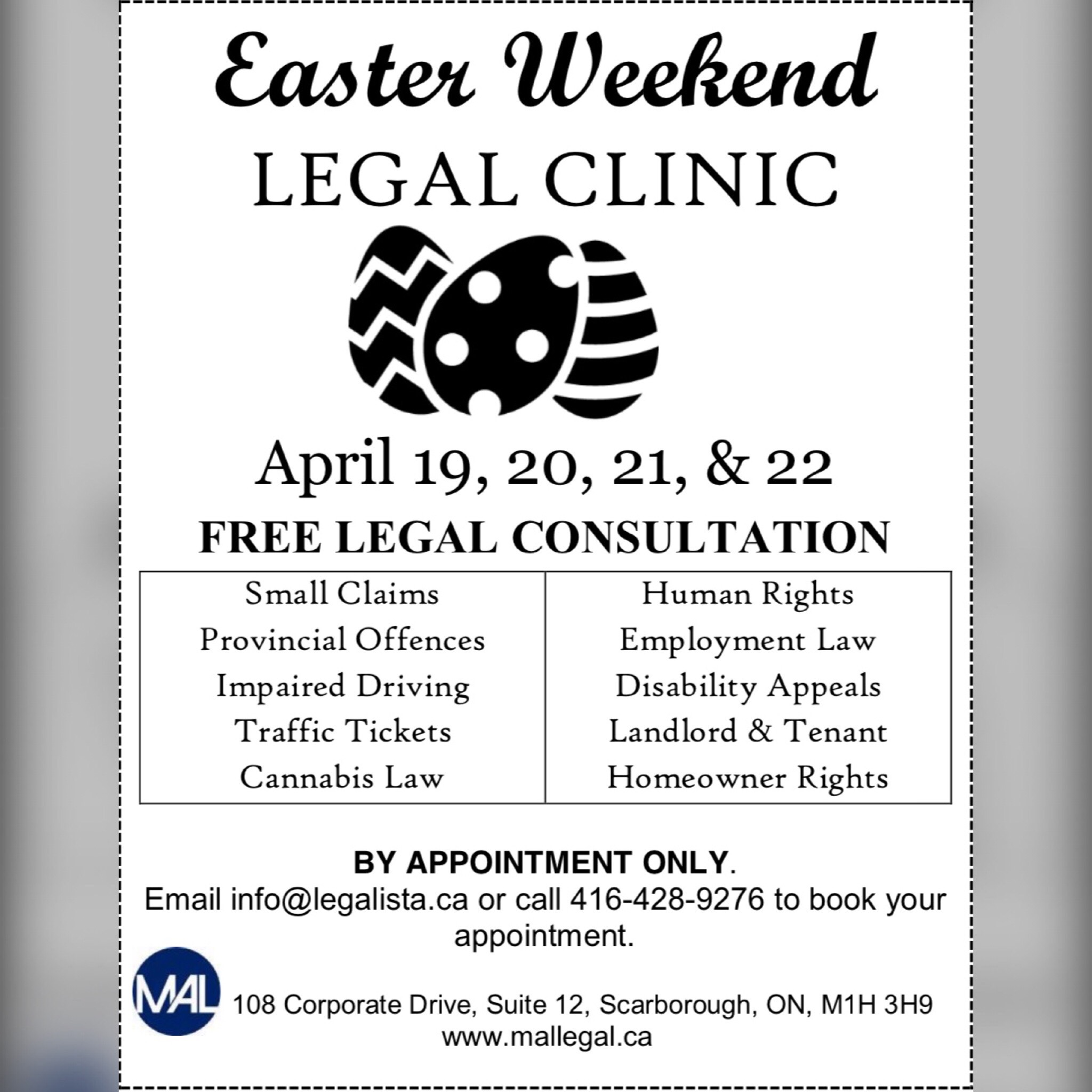 Easter Weekend Legal Clinic
