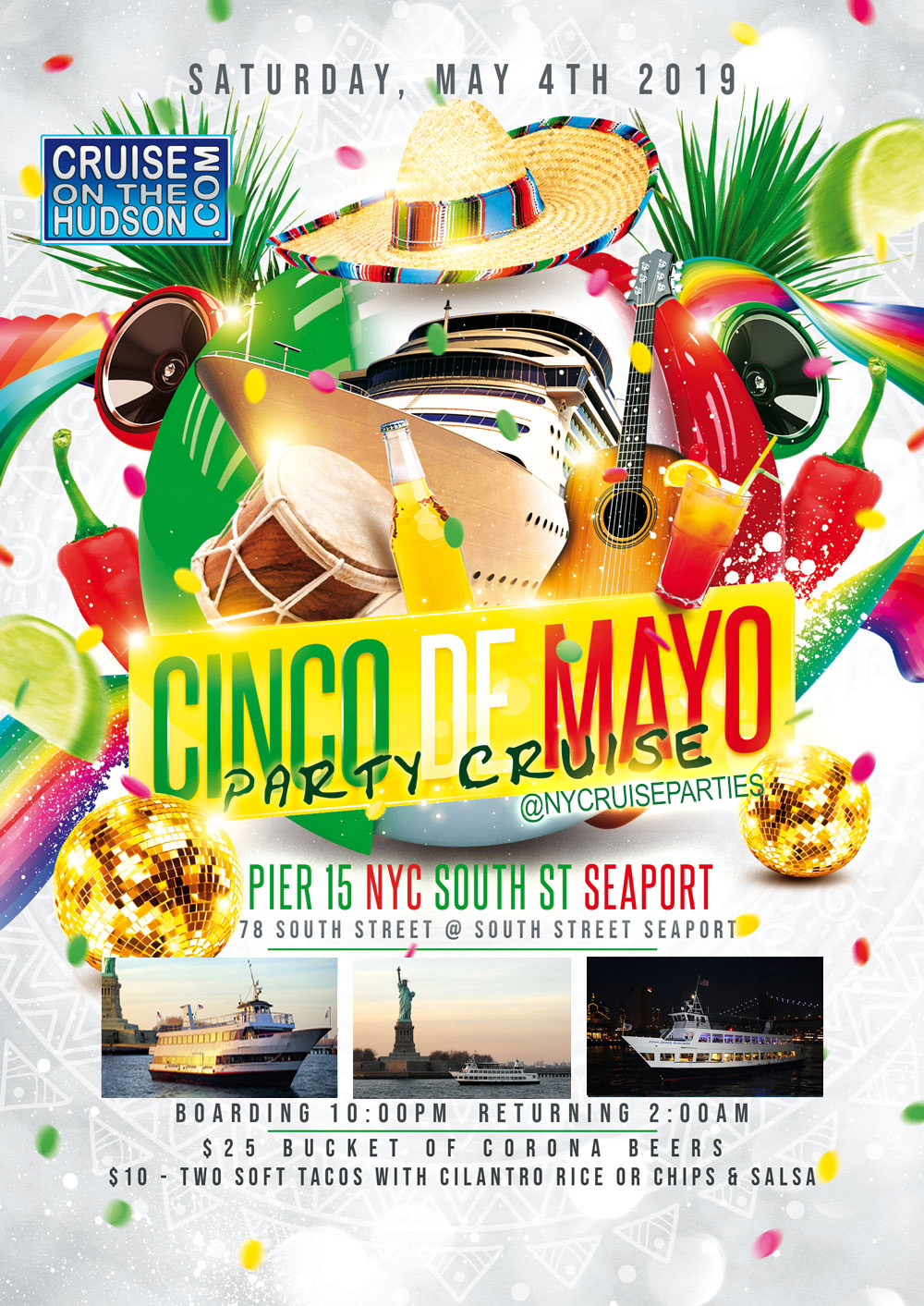 Cinco De Mayo Yacht Party Dance Cruise NYC Boat Party Hornblower JJ Audubon Yacht boat Pier 15 NYC South Street Seaport