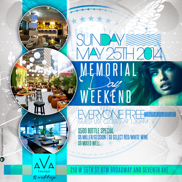 Ava Lounge Rooftop NYC Memorial Day Weekend 2014