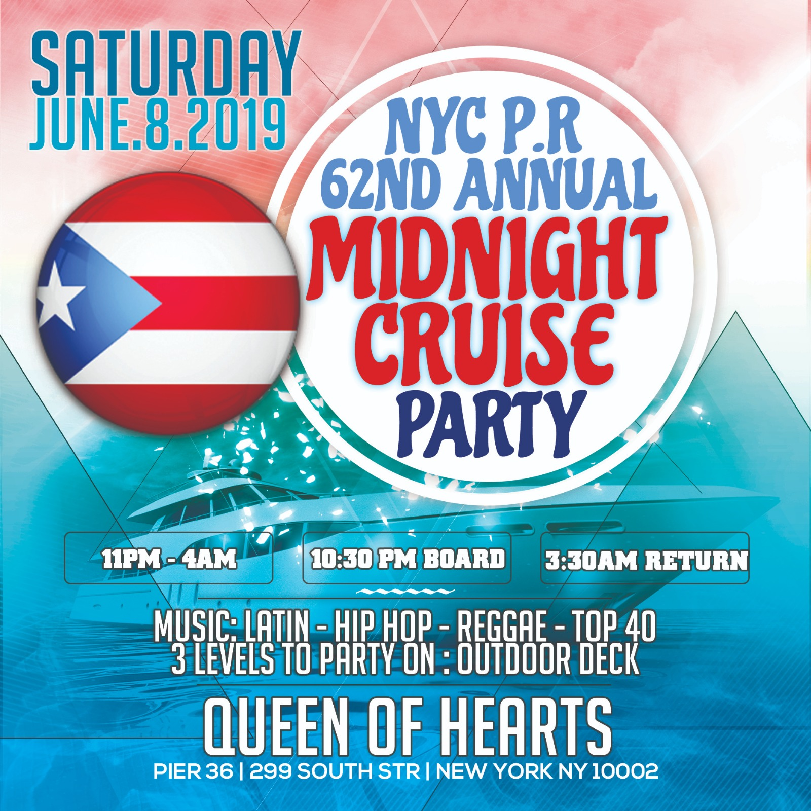 Midnight Cruise NYC Queen of Hearts Boat