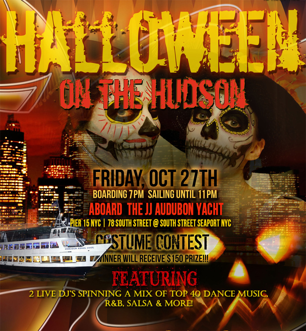 Halloween On The Hudson Dance Cruise NYC Boat Party Hornblower Audubon Yacht boat Pier 15 NYC South Street Seaport