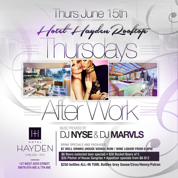 Hotel Hayden Rooftop Lounge After Work Happy Hour Party NYC – AFTERWORK411 Guestlist