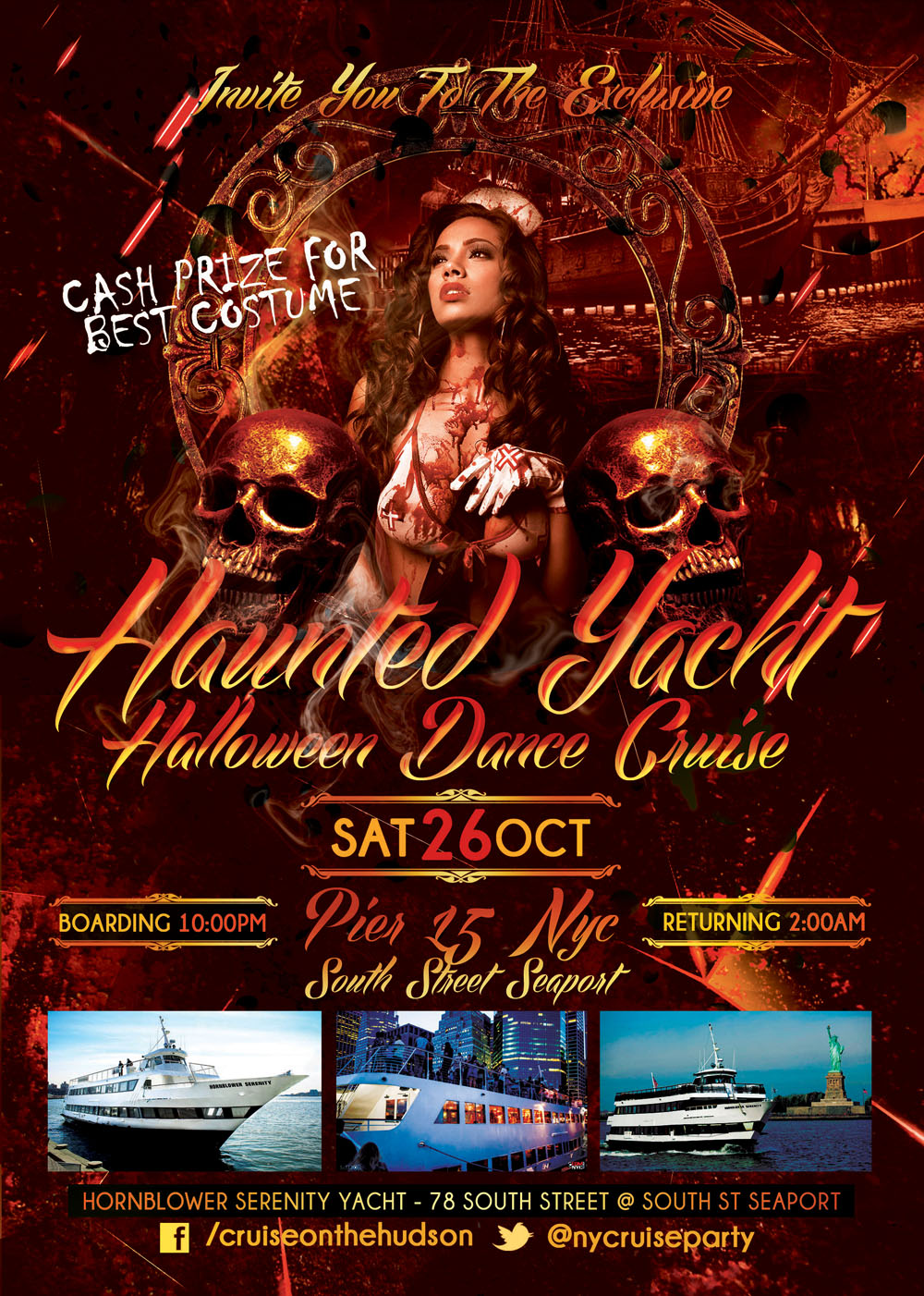 Haunted Yacht NYC Halloween Dance Cruise Pier 15 NYC South Street Seaport