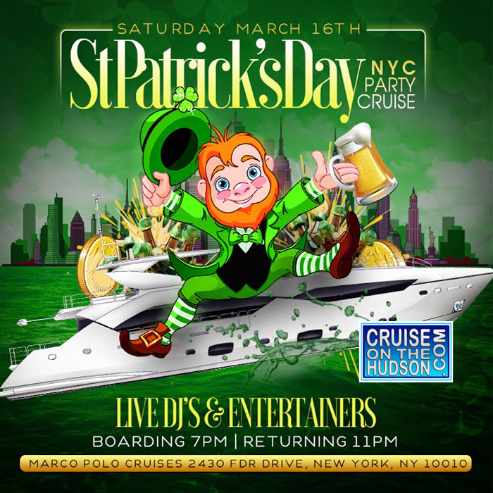 St Patricks Day Yacht Party Cruise NYC aboard the Jewel Yacht NYC Skyport Marina