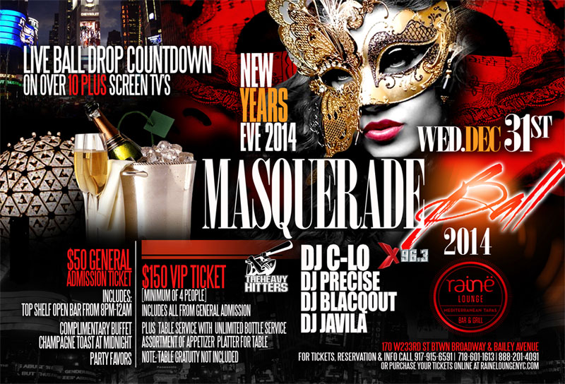 New Years Eve Masquerade Ball Raine Lounge NYC New York