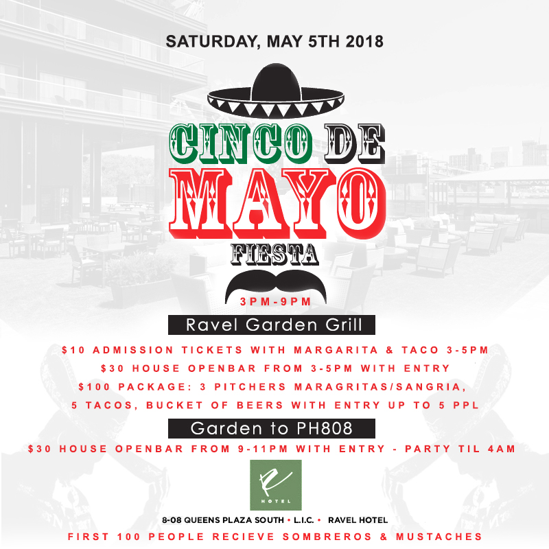 Cinco De Mayo NYC Party ravel hotel Rooftop NYC penthouse808