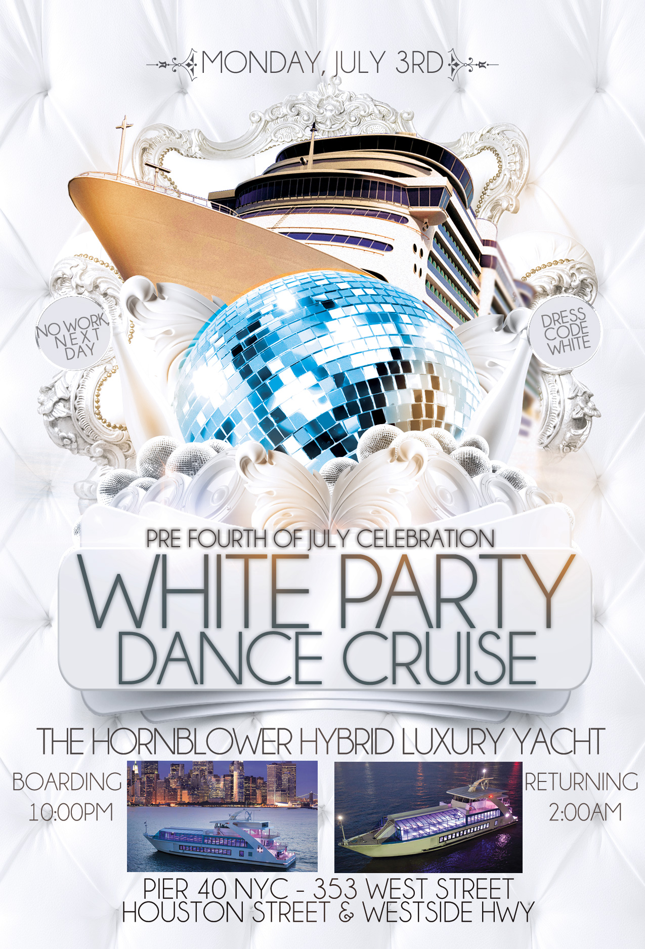 Pre 4th of July White Party Dance Cruise NYC Tickets, Mon, Jul 3 ...