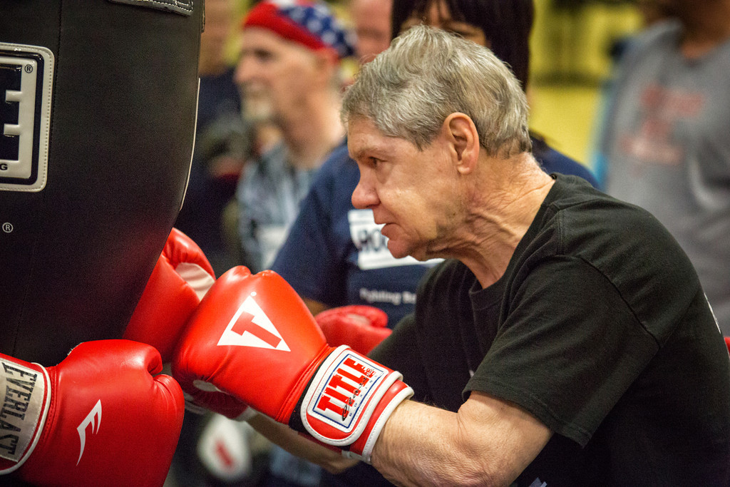 Rock Steady Boxing participant