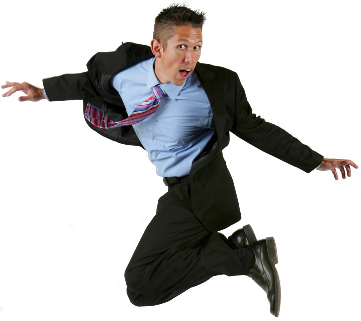 Hal Elrod Jumping In a Suit