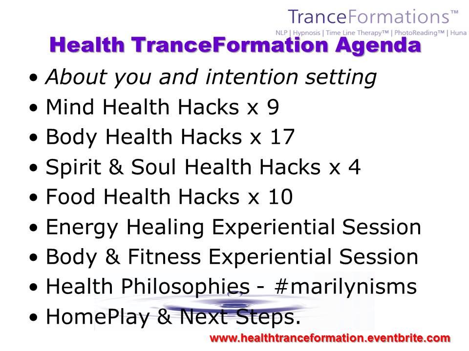 Health TranceFormation Workshop Agenda