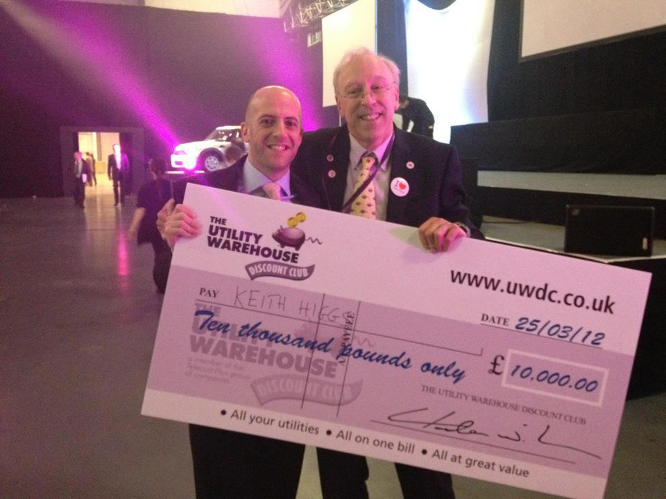 Keith with his £10,000 cheque