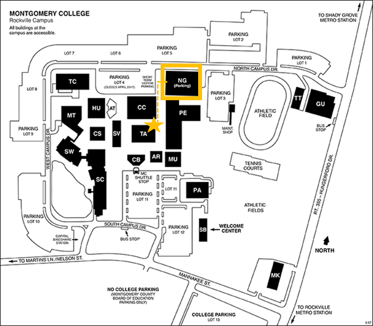 Map of Rockville campus with directions to North campus garage and TA building
