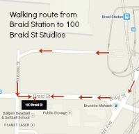 Walking Route from Braid Station to 100 Braid St