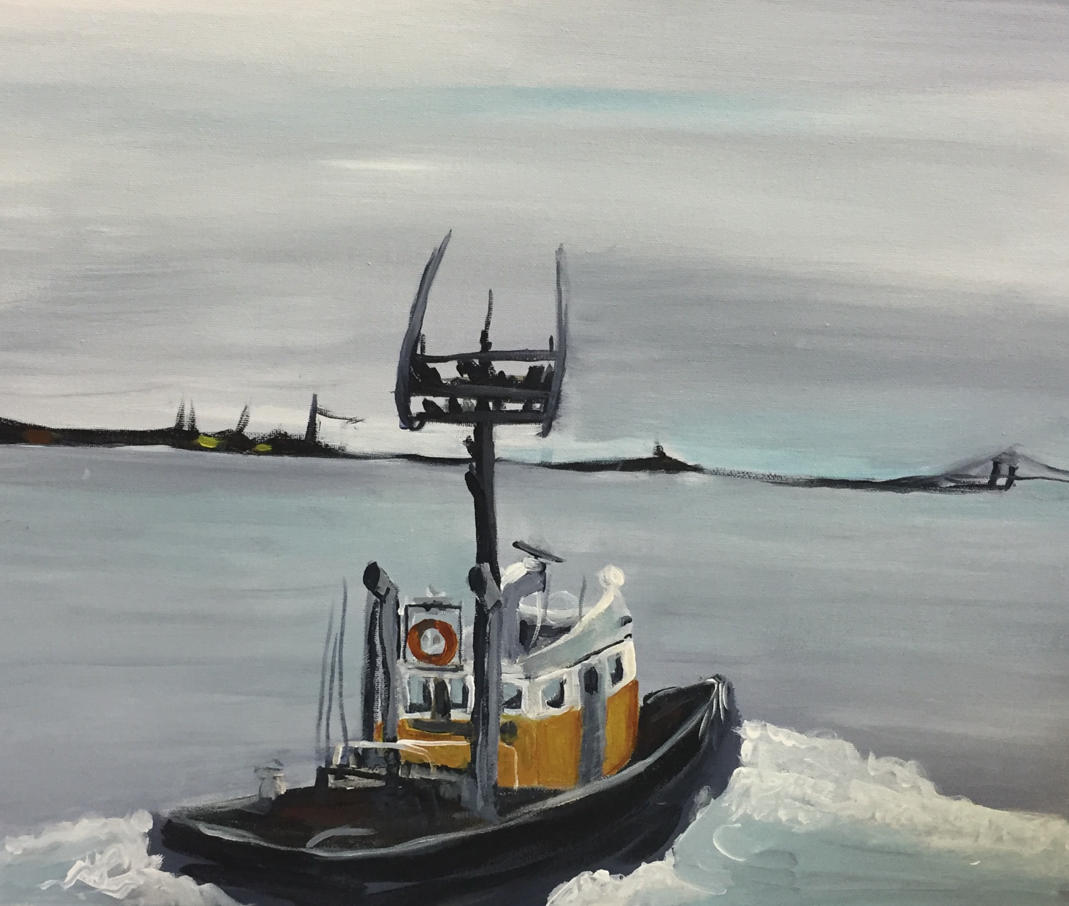 Fraser River Tugboat by Iris Mes Low for 100 Braid St Studios Paint & Sip Night