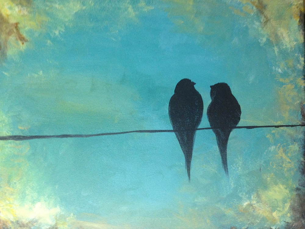 Love birds painting paint sip night snacks included for Photos to paint