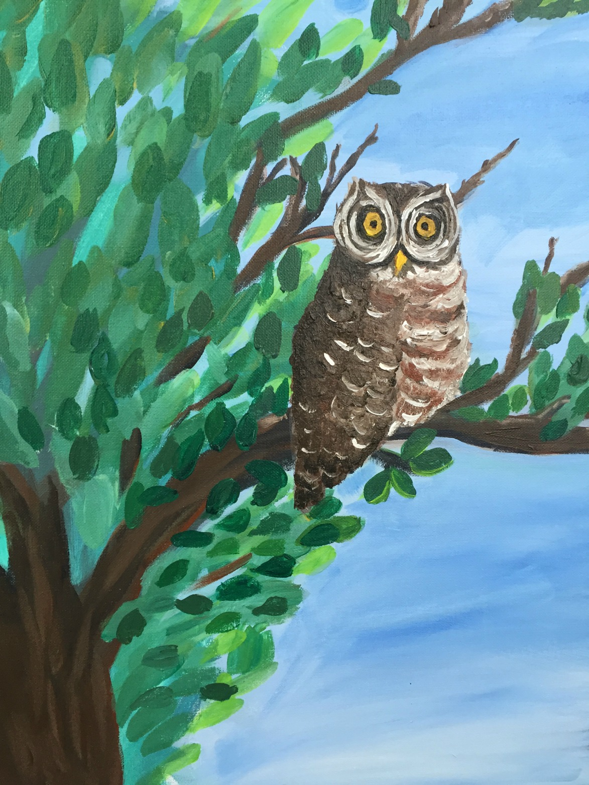 The Forest Watcher - Owl Painting by Iris Mes Low for 100 Braid St Studios