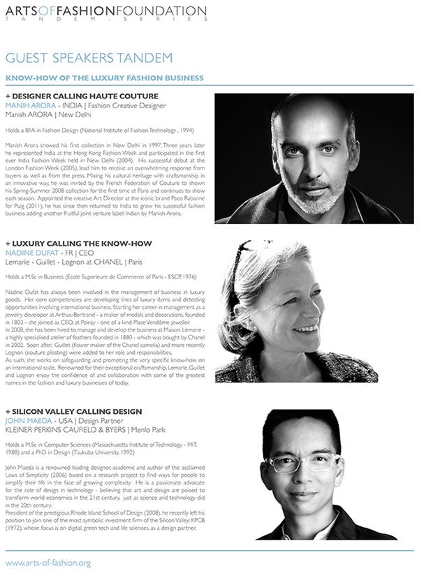 Arts of Fashion Foundation tANDEM SERIES 2014