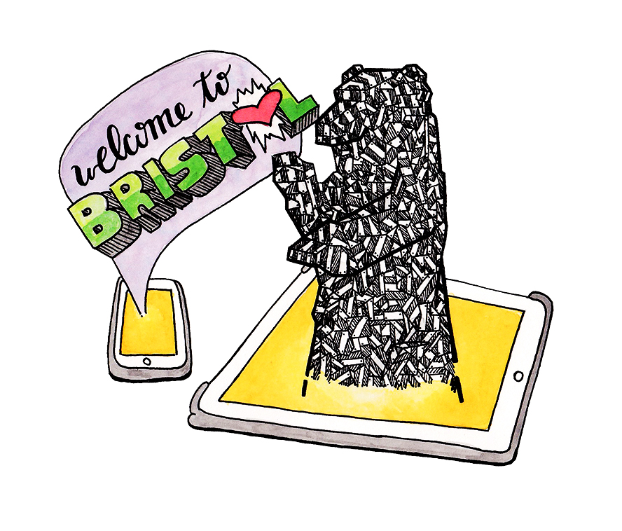 Illustration of mobile phone with speech bubble coming out saying 'Welcome to Bristol' and a tablet with the Bristol bearpit bear coming out of it