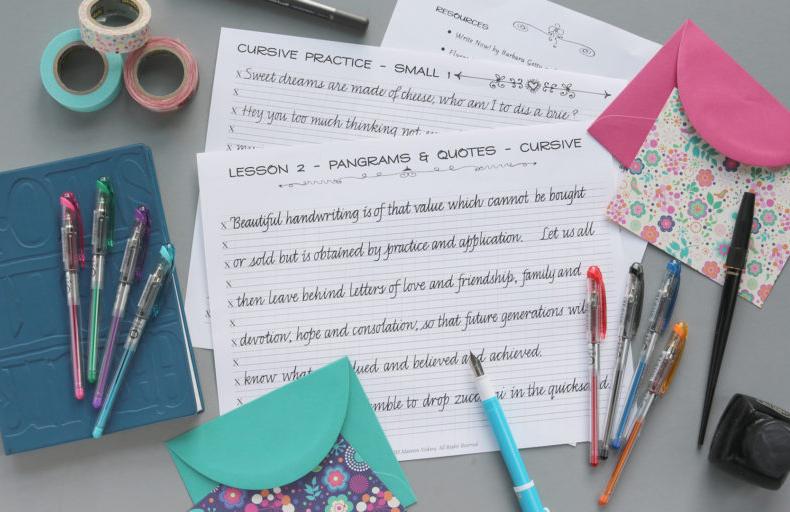 Italic Cursive Handwriting Practice