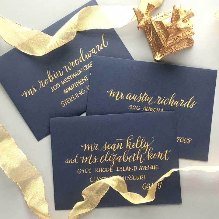 Envelopes in Gold Ink