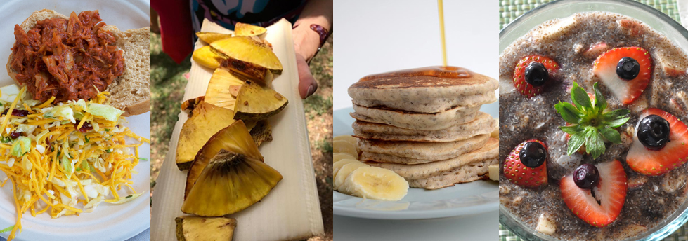 four close up photos of vegan food dishes, chia bowl, pancakes, fried breadfruit