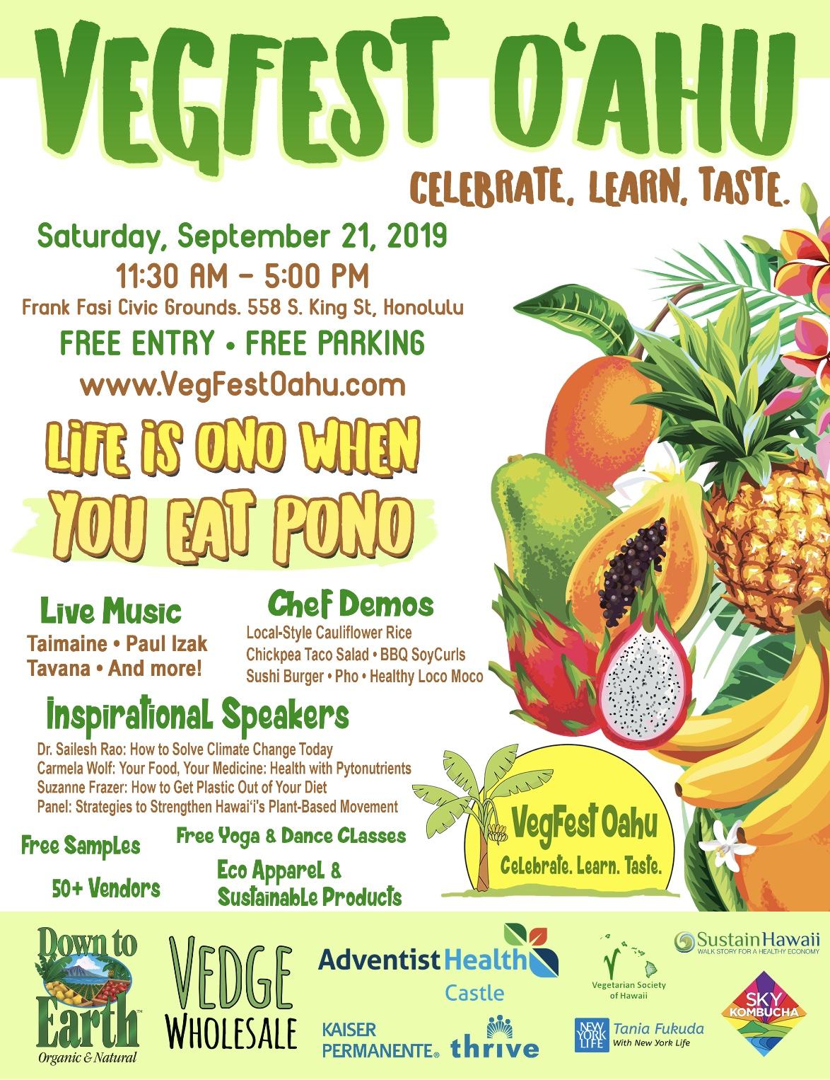 Poster for VegFest Oahu 2019 on Sept 21