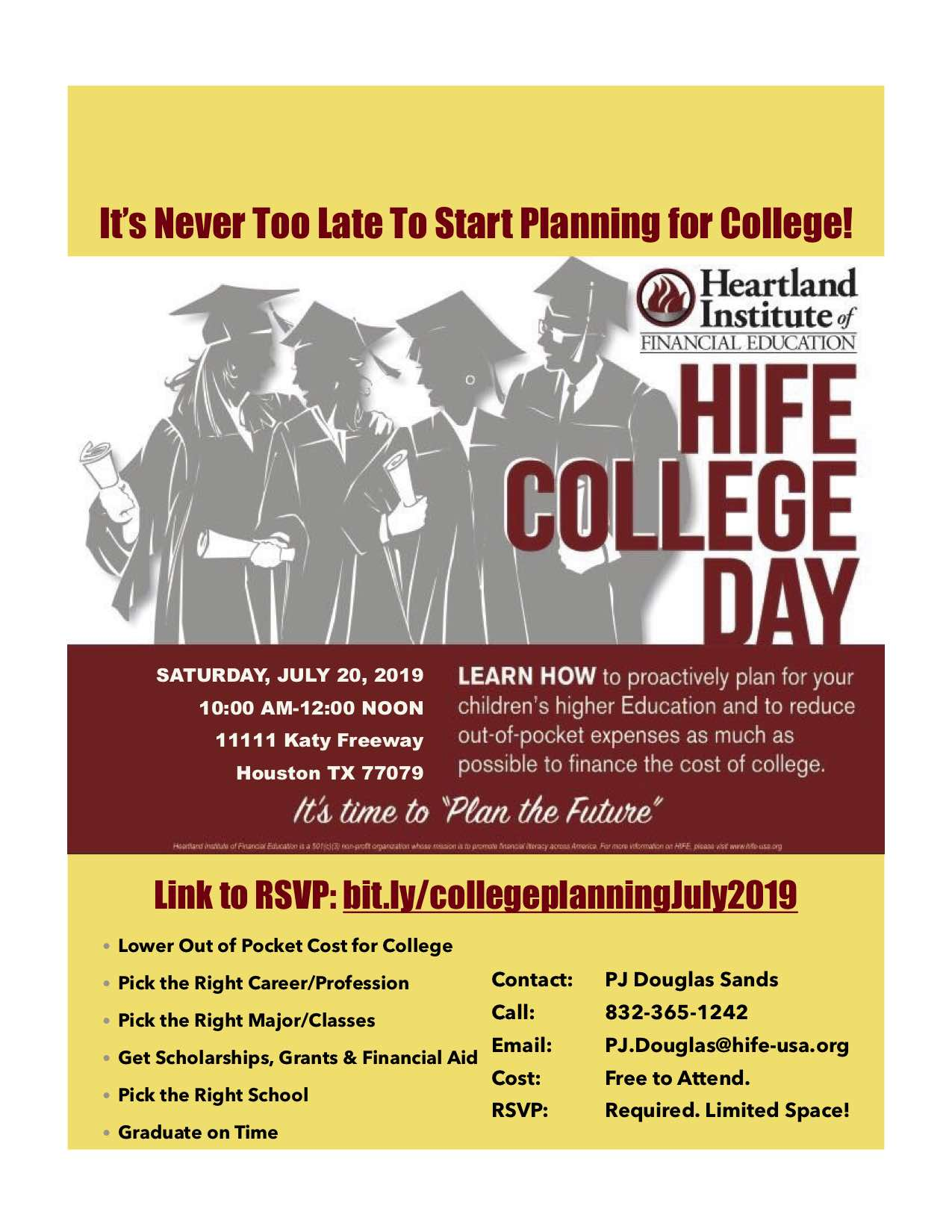 July 2019 College Planning Day in Houston TX with DS3 MoneyWorks Financial Solutions