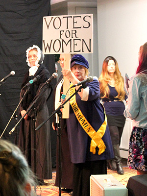 Alice Paul (played by Libby Franck) stands up for women's right to vote.