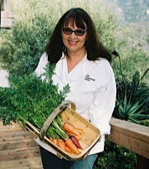 Chef Linda Elbert in her garden