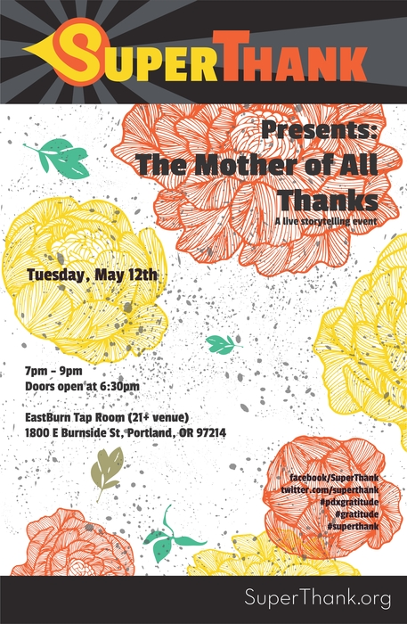 SuperThank May 12 event poster