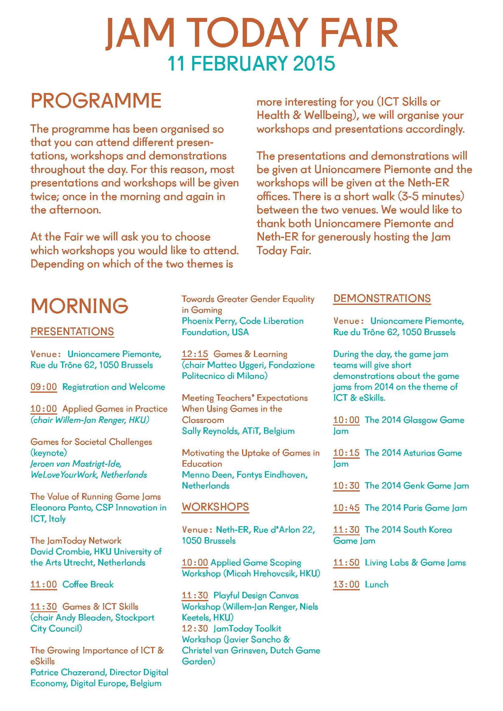 JamToday Fair 2015 Programme
