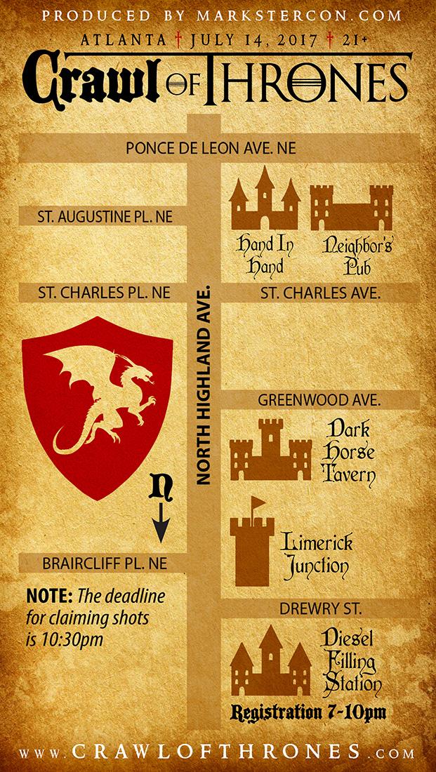 Crawl Of Thrones Map